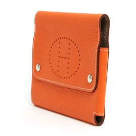 Hermès-BELT CLUTCH 2 TONES LEATHER-Orange