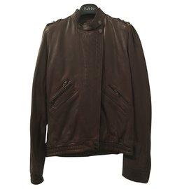 Zadig & Voltaire-blouson cuir type aviateur/motard-Marron