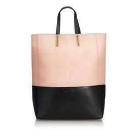 Céline-Bicolor Rubber Vertical Cabas Tote-Black,Pink