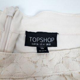 Topshop-Topshop Jupe patineuse en dentelle S-Crème