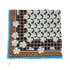 Fendi-Carre XL Soie laine-Bleu,Caramel