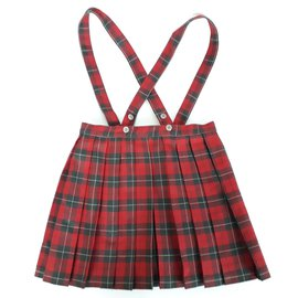 Cacharel-CACHAREL Red tartan pleated skirt 6 - 7 YO-Red