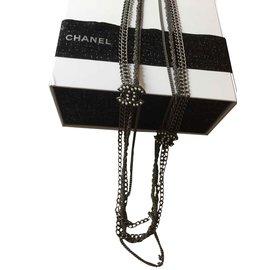 Chanel-Sautoir Chanel-Gris,Métallisé