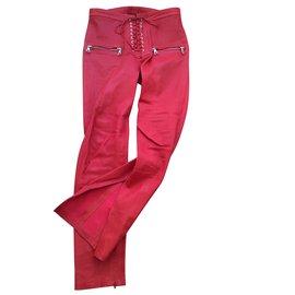 Autre Marque-Pantalon en cuir à lacets-Rouge