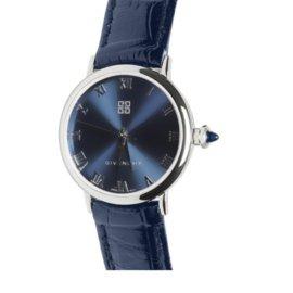 """Givenchy-GIVENCHY Montre Femme  """"Shanghai BLUE""""  diamètre 24mm - Acier & Cuir bleu-Bleu"""