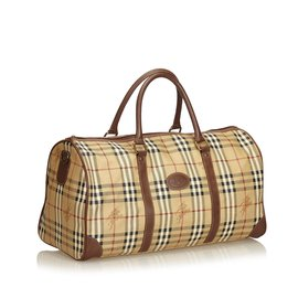 Burberry-Plaid Duffle Bag-Brown,Multiple colors,Beige