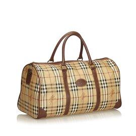 Burberry-Plaid Duffle Bag-Marron,Multicolore,Beige