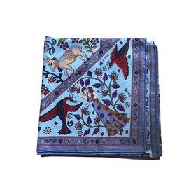 Hermès-Châle cachemire et soie Hermès 140 Peuple du Vent-Bleu