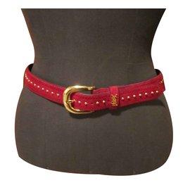 Yves Saint Laurent-Belts-Red
