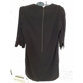 The Kooples-Superbe robe bi matière cuir et viscose-Noir