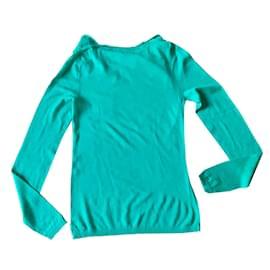 Adolfo Dominguez-pull fin vert chlorophylle encolure bénitier Taille S ou XS-Vert clair,Turquoise