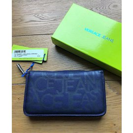 Versace-VERSACE JEANS BIG LOGED WALLET NEW VEGAN-Blue