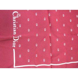 Christian Dior-Carré soie Christian Dior initiales-Bordeaux
