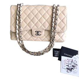 Chanel-Chanel Single Flap Jumbo au caviar beige avec SHW-Beige