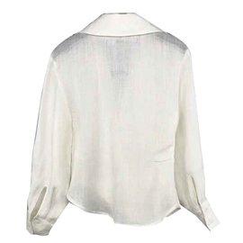Jacquemus-Jacquemus cream cross over wrap la bomba shirt FR36-Écru