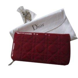 Dior-Portefeuille Lady Dior-Bordeaux