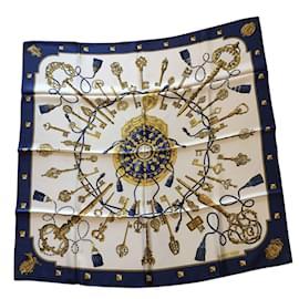 Hermès-Lenços-Azul,Bege,Amarelo
