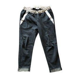 Brunello Cucinelli-Pantalons, leggings-Gris