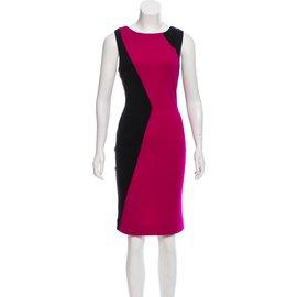 Diane Von Furstenberg-DvF Suji robe en laine colorblock-Noir,Fuschia