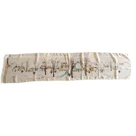 Autre Marque-étole mousseline de soie paysage reproduction G. Damin 130*29cm-Blanc cassé
