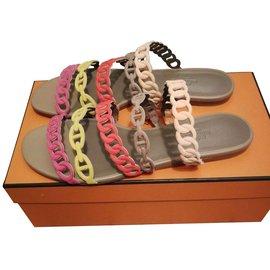 Hermès-Sandales Hermès-Multicolore,Beige