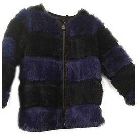 Ikks-manteau fille en fausse fourrure IKKS-Noir,Bleu foncé