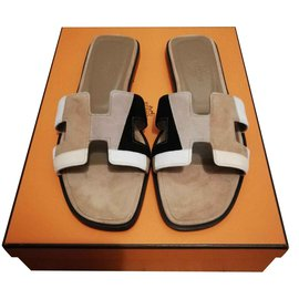 Hermès-Hermès sandales Oran-Multicolore,Beige