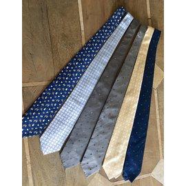Autre Marque-6 cravates en soie neuve (5 tissées et 1 imprimée)-Bleu,Beige,Gris
