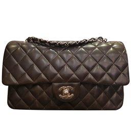 Chanel-Sac Chanel timeless cuir lisse-Marron foncé