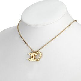Chanel-Heart and CC Pendant Necklace-Golden