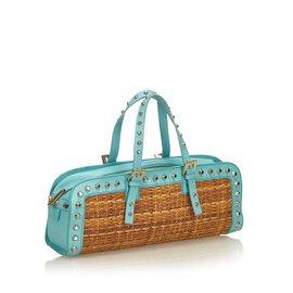 Fendi-Studded Rattan Handbag-Brown,Blue,Light blue