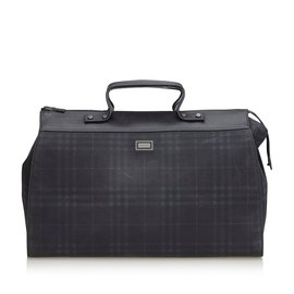 Burberry-Plaid Travel Bag-Blue,Navy blue