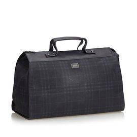Burberry-Plaid Travel Bag-Blue,Navy blue