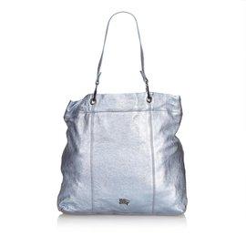 Burberry-Metallic Leather Tote Bag-Blue
