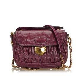 Prada-Mini sac à bandoulière en cuir froncé-Violet