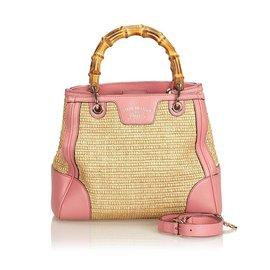 Gucci-Petit sac à main en bambou-Marron,Rose,Beige