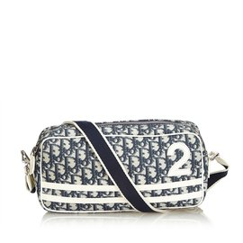 Dior-Sac bandoulière trotter oblique-Blanc,Bleu,Bleu Marine