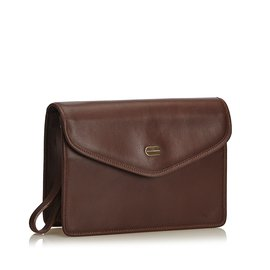 Burberry-Leather Clutch Bag-Brown