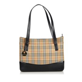 Burberry-Plaid Canvas Tote Bag-Brown,Multiple colors,Beige