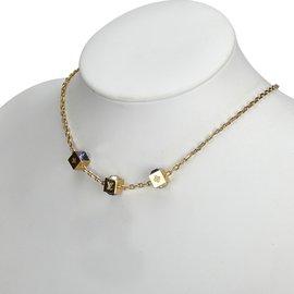 Louis Vuitton-Gold Tone Gamble Necklace-Multiple colors,Golden