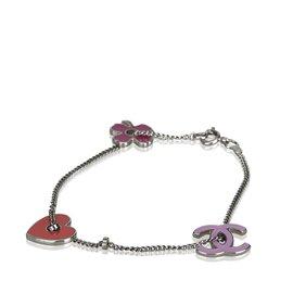 Chanel-Bracelet à breloques multiples-Argenté,Multicolore