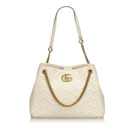 Gucci-cabas moyen matelassé GG Marmont-Blanc,Écru