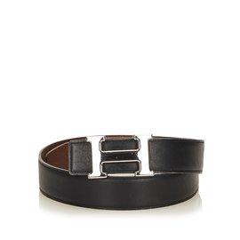 Hermès-Constance Belt-Black,Silvery