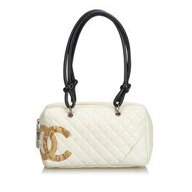 Chanel-Cambon Ligne Sac à bandoulière-Marron,Blanc,Beige,Écru