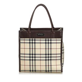 Burberry-Plaid Coated Canvas Handbag-Brown,Multiple colors,Beige