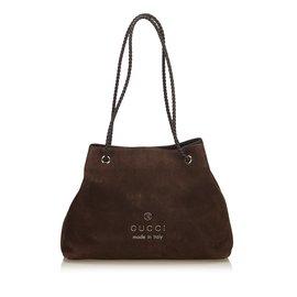 Gucci-Sac cabas en cuir nubuck-Marron,Marron foncé