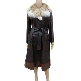 Vintage-Manteaux, Vêtements d'extérieur-Kaki,Marron foncé