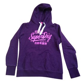 Superdry-Sweatshirt à capuche-Bordeaux