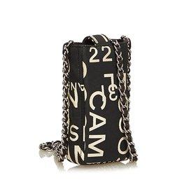 Chanel-Par pochette de téléphone portable de mer-Noir,Blanc