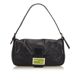 Fendi-Leather Mamma Baguette-Noir